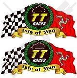Isle Of Man TT Race Mannois Moto GP Racing 7,6cm (75mm) bike-helmet en vinyle autocollants, Stickers x2