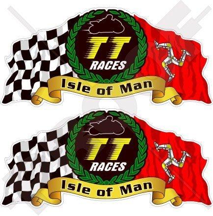 ISLE of MAN TT 2 autocollants Moto GP Racing 75 mm en vinyle pour casque de vélo
