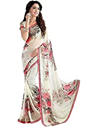 KSH Trendz Soft Georgette Crepe Blend Saree With Blouse For Women & Girls