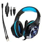 OUYAWEI Dignity Gaming-Headset für PC, PS4, Laptop, Handy, 3,5 mm, Blau