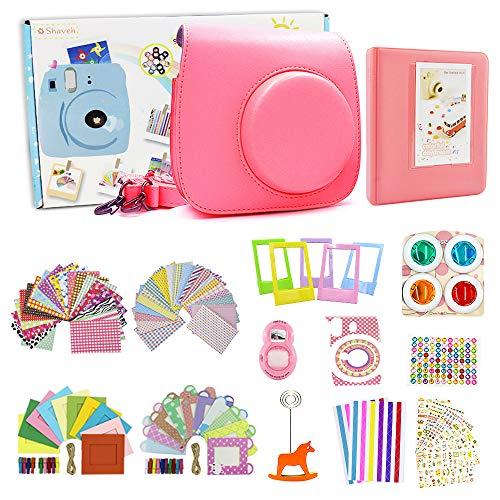 Shaveh Zubehör kompatibel für Fujifilm Instax Mini 8/8 + Mini 9, 14 in 1 Kamera Set Schließen Kameratasche/Farbige Filter/Wand Hang Rahmen/Filmrahmen/Rahmen Aufkleber/Eckaufkleber/Selfie Objektiv/Diamant-Aufkleber(Flamingo Rosa) (14 Wand-aufkleber)