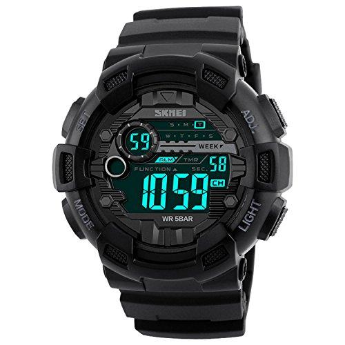 Dayllon Herren Uhr Sport Digital Wasserdicht mit Stoppuhr Alarm Plastik Armband