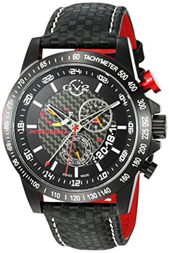 GV2 by Gevril Herren 9900 Scuderia Analog Display Swiss Quartz Black Watch