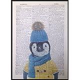 Bebé pingüino Vintage diccionario página pared Art imagen impresión Cute Animal invierno