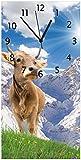 Wallario Design Wanduhr Kuh im Sonnenschein in den Alpen aus Acrylglas, Größe 30 x 60 cm, Schwarze Zeiger