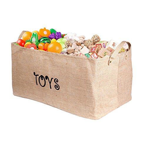 Tovee Große Spielzeugkiste 22 Zoll Spielzeug Aufbewahrungskiste Spielzeugbox Jute Faltbar Aufbewahrungsbox mit Griff für Hundespielzeug, Kinder Spielzeug, Decken, Kleidung