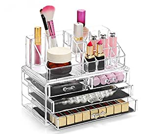 Display4top Jewellery Storage Box Acrylic Cosmetics Lipsticks Make Up Organiser Holder Box (4 Drawers Clear C)
