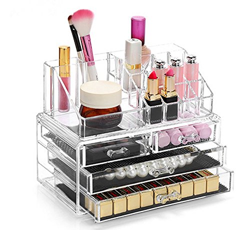 Display4top Jewellery Storage Box Acrylic Cosmetics Lipsticks Makeup Organiser Holder Box (4 Drawers Clear C)
