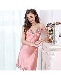 fc68c9da4 Ropa de Dormir de Seda Lencería Sexy para Mujeres Vestido Bata de baño  Súper Suave Seda