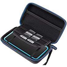 New Nintendo 2DS XL Hülle, Supremery Case Reiseetui Tasche (Slim Version) mit Netztasche und Reißverschluss - Wasserabweisend in Schwarz Blau