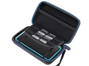 Supremery New Nintendo 2DS XL Hülle, Case Reiseetui Tasche (Slim Version) mit Netztasche und Reißverschluss - Wasserabweisend in Schwarz Blau