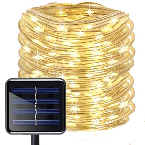 LED Schlauch Lichterkette,KINGCOO Wasserdicht 39 ft/12 m 100 LED Solarlichterkette Röhrenlicht Seil Kupferdraht Weihnachtsbeleuchtung Lichter für Hochzeit Garden Party Außenlichterkette(WarmWeiß) -