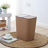 LITINGMEI Refuse Bin litingmei Abfalleimer Küche Trash Drücken Können Creative Wohnzimmer Home Doppel-Abdeckung rechteckig Junk Box Light Coffee Color