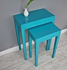 Lot de 2 tables d'appoint bleu turquoise table en bois brillant laqué