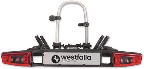 Westfalia Fahrradträger bikelander für die Anhängerkupplung, E-Bike geeignet, LED-Hybrid-Leuchten, zusammenklappbarer Kupplungsträger für 2 Fahrräder, 60 kg Zuladung, universal