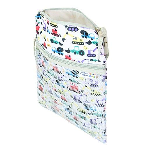 tiddlers & nippers – Wet / Dry Bag | Nass / Trocken Tasche Für Baby | Auslaufsicherer Abschnitt für nasse Gegenstände / Windeln | Externer Abschnitt für trockene Gegenstände | Leicht, wasserdicht und strapazierfähig | Design / Muster – Ausgräber