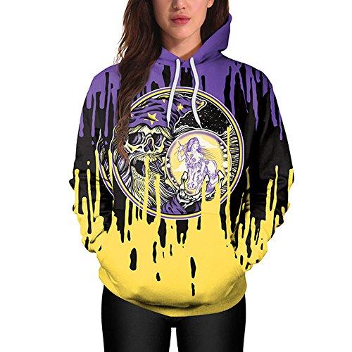 mit Kapuze Halloween Kostüm Kordelzug Drucken Hoodie Sweatshirt Pullover Tops Kapuzenpulli ()