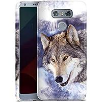 LG G6 Hülle Premium Case Cover Schnee Snow Wolf
