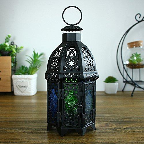 Chandelier noir en verre vintage Décorations de noël Lanterne d'atterrissage Décorations pour la maison créatives Art de fer creux Traîner-A 11x20cm(4x8inch)