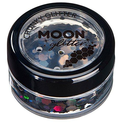Paillettes holographiques rondes par Moon Glitter (Paillette Lune) - 100% de paillettes cosmétique pour le visage, le corps, les ongles, les cheveux et les lèvres - 3g - Noir
