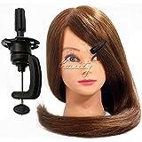 pedgeo (TM) de haute qualité 66cm Marron Formation de coiffure Mannequin tête de coupe 80% Vrais Cheveux Humains avec C10