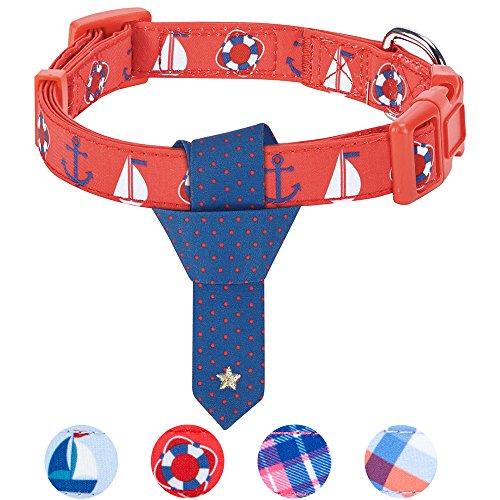 Blueberry Pet Purpurrotes Nautisches Segelboot Designer Krawatte Hundehalsband, M, Hals 37cm-50cm