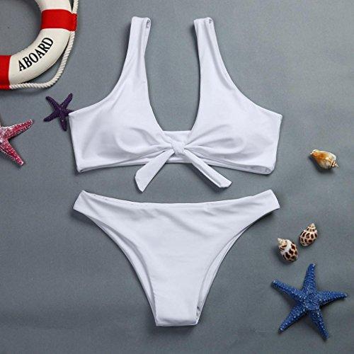 Amlaiworld Teen Girls Bikini costumi da bagno Donna con reggiseno petto Pad beachwear Bianco