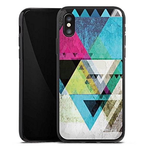 Apple iPhone X Silikon Hülle Case Schutzhülle Muster Grafisch Abstrakt Silikon Case schwarz