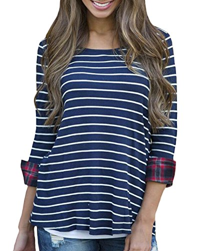 Auxo Femme Casual Basic Chemise à 3/4 Manches Col Rond Rayé T-shirt Mode Tops Stripe
