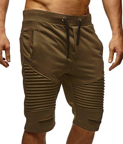 LEIF NELSON Herren Kurze Hose Shorts Sweatshorts LN9025; Größe M, Khaki (Shorts Khaki Capri-hosen)