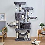 MSmask Kratzbaum Kletterbaum Stabil Mehrere Ebenen Plattform für Grosse Katzen mit groß Höhle, Sisal-Stämme, Natur Sisal Katzenkratzbaum, 145cm, Hellgrau