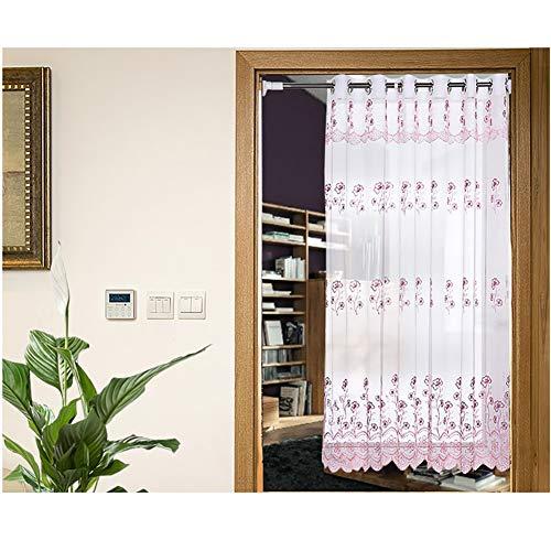 CCSUN Kurze Schiere Vorhang, Blume Voile Vorhang Für Bad Küche Schiere Panel Transparente Tülle Fenster Tür Vorhang Mit Raffhalter,1 Tafel-rosa W150xh200cm(59x79inch)