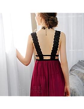 XYZHF**Sexy gusto femenino pijamas albornoz correa atrás V profundo temperamento y ropa interior femenina tentación...
