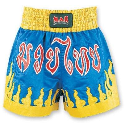 M.A.R International Ltd Kick Boxen & Thai Boxing Shorts Kickboxen Hose MMA Hose Boxen Kleidung Muay Thai K1GEAR Polyester Satin Stoff blau/gelb XS Mehrfarbig - Blau/Gelb