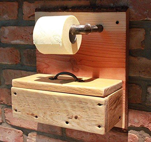 Massivholz Toilettenpapierhalter Klopapierhalter Box für Feuchttücher Rollenhalter aus Holz natur fertig montiert