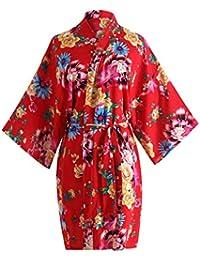 Pijama lencería Kimono Corto de satén de Estampado Floral para Mujer Corta Cintura con Cordones Cosplay