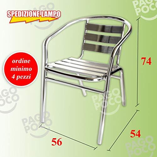Gstore Sedia in Alluminio Bar Giardino da Esterno con BRACCIOLI IMPILABILE ACQUISTO Minimo 4 SEDIE