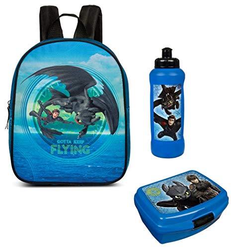 Familando Kindergarten-Rucksack Dragons Drachenzähmen 3 TLG. Set mit Brotdose und Trinkflasche Krippe Freizeit blau Drache Ohnezahn Higs
