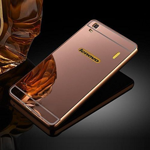 Lenovo K3 Note (A7000) Metal Bumper Frame Case with Acrylic Mirror Back Cover Case By Relax And Shop- Rose Gold