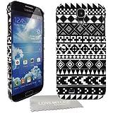 StyleBitz Coque rigide avec motif géométrique pour Samsung Galaxy S4 / i9500 Avec protection d'écran et tissu de nettoyage de nettoyage (Noir/blanc)