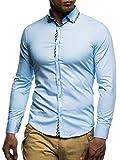 LEIF NELSON Herren Hemd Slim Fit BÙgelleicht Trend Langarm Freizeit Kariert; Größe M, Hell Blau