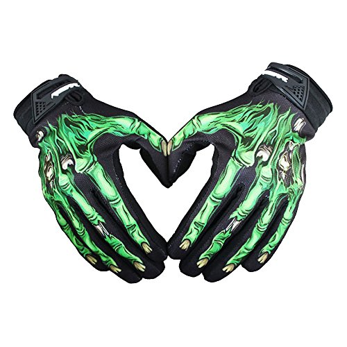 rad Motorrad Touchscreen Skelett Handschuhe Outdoor Sport Winter Warme Skidproof Dauerhaft Winterhandschuhe für Fahrrad Motorrad Moto-Cross Größe M/L/XL Farbe Grün/Weiß ()