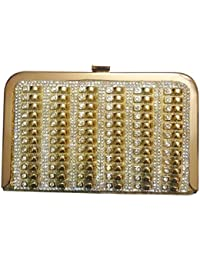 Party Wear Hand Embroidered Box Clutch With Golden Sequence & Golden Thread Self Aari Work On Elegant Velvet Imported...