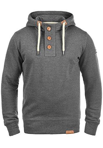 !Solid TripStrip Herren Kapuzenpullover Hoodie Pullover Mit Kapuze Knopfleiste Und Fleece-Innenseite, Größe:XXL, Farbe:Grey Melange (8236)