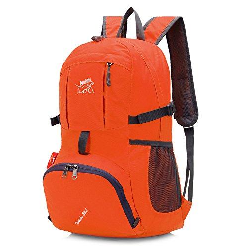 echofun leicht faltbar Rucksack reißfest Travel Rucksack Wasserdicht Wandern incl. Notebookfach Urlaub kann Staubbeutel in Kleine Griff Tasche leicht Orange