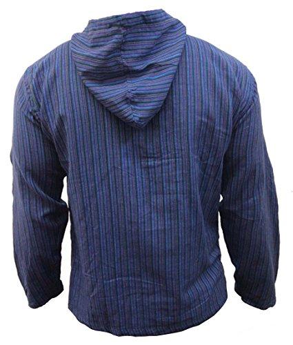Shopoholic Fashion Mehrfarbig dharke Streifen Opa Kapuzenpulli Hemd, leicht blaue Mischung