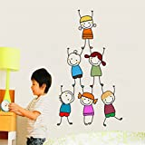 Rawpockets 'Kids Pencil Drawing ' Wall Sticker (PVC Vinyl, 75 cm x 140cm), Multicolor