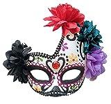 Mujeres Mexicano Dia de los Muertos Máscara Azúcar Cráneo Flor Halloween Glitter Fantasía Máscara (Sombra de Ojos púrpura)