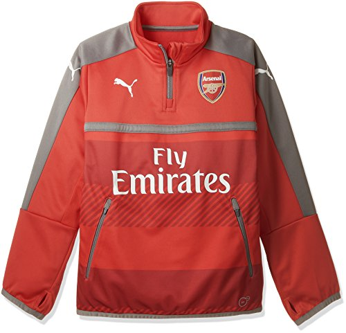 Puma Kinder Jacke AFC 1/4 Training Top-Sales with 2 Side Pockets/Zip high Risk red-Steel Gray, 140