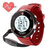 dreamsport Pulsómetro - Reloj con monitor de frecuencia cardíaca con correa para el pecho y podómetro, contador de pasos, cronómetro, alarma dual, contador de calorías, resistente al agua hasta 30 m, Rojo